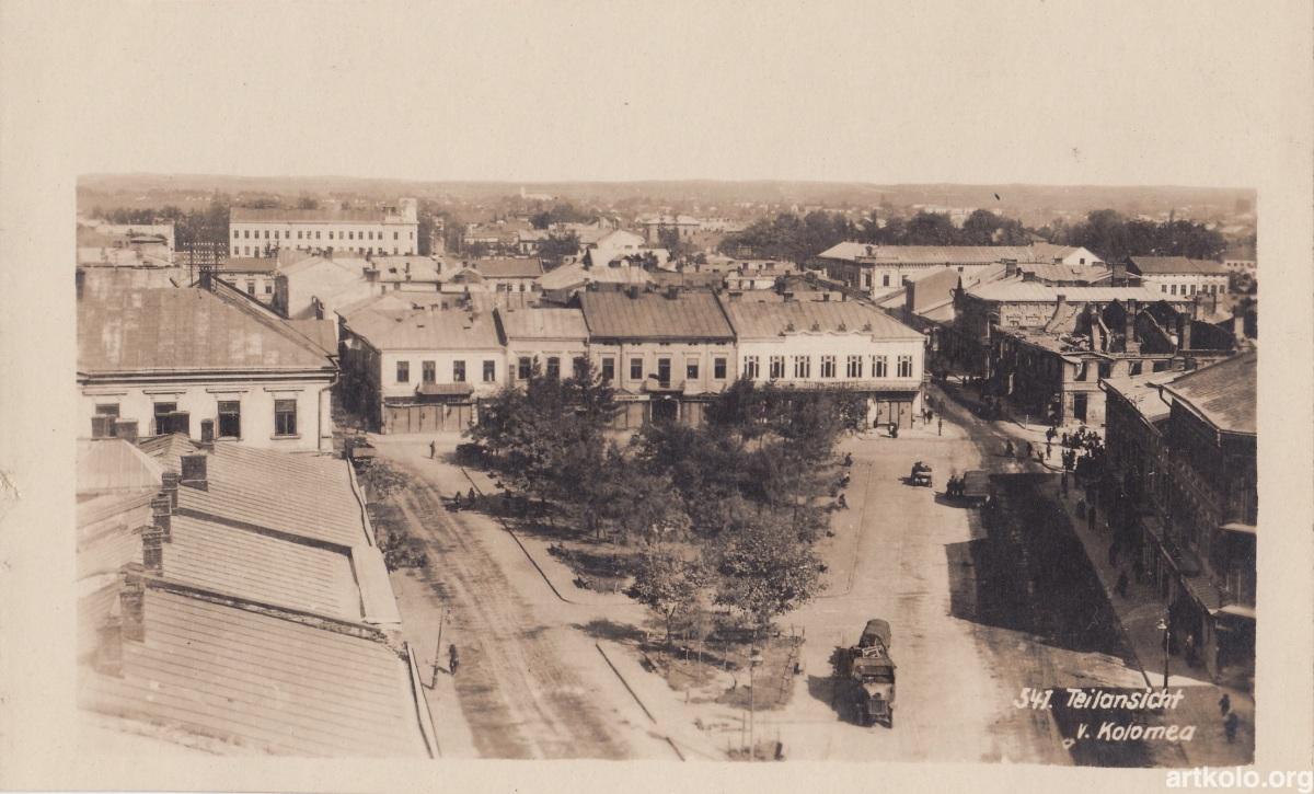 Панорама на сторону вул. Ягайлонська Низша (фотолистівка, невідомий видавець)