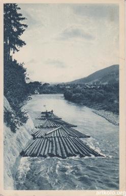 Сплав дерев Черемошем біля Жаб'є-Ільці (W.W. Zabie ad Kosow)
